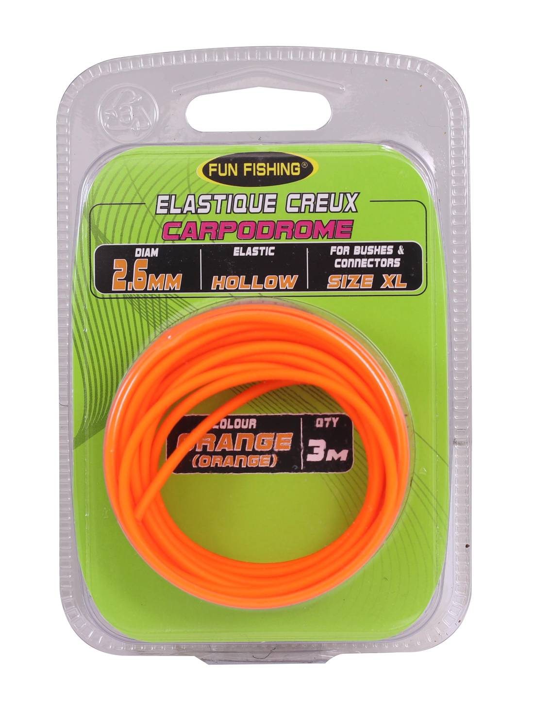 Elastique Creux Fun Fishing 2.6mm Orange